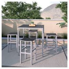 Bar Height Bistro Patio Set by Corliving 5pc Outdoor Bar Height Bistro Set Black Silver Target