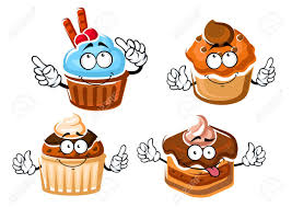 Cartoon delicious chocolate cake with ganache frosting cupcake with mint cream muffins with caramel