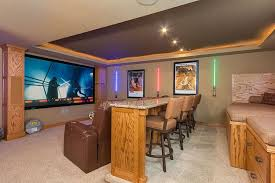 Hidden Home Theater Simple Ideas Light Orange Painting Color Without Furniture Rustic Wood Bar Table Open Plan Bookshelves Twin