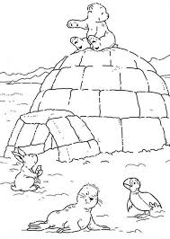 Lars The Little Polar Bear Sitting On An Igloo Coloring Pages