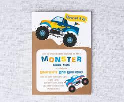 100 Truck Birthday Invitations Monster Invitation Monster Etsy