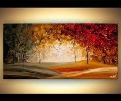 landscape painting modern abstract landscape blooming trees