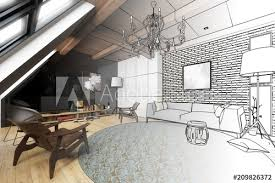 wohnzimmer in der mansarde projekt fototapete