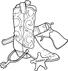 Cowboy Coloring Pages Western Boots