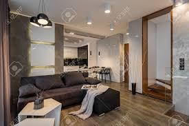 wohnzimmer mit dunklem sofa offen zur kleinen küche