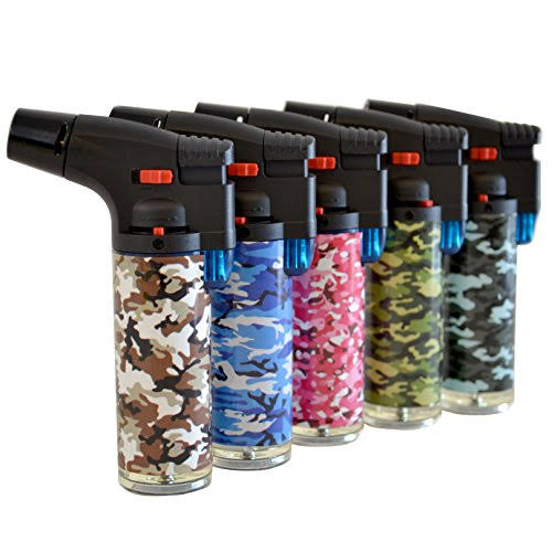 Techno Torch Single Slant Jet Flame Windproof Pattern Lighter - Butane Refill, Camouflage