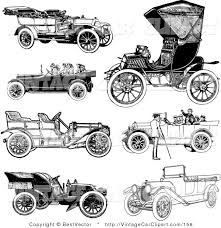 Clipart Of Retro Black And White Vintage Convertible Cars On