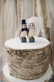 Snow Owl Barn Wedding Cake Topper County Lover Bride And Groom Fall Winter Clay Ivory Veil Rustic Mr Mrs