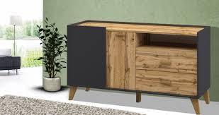 sideboard wohnzimmer kommode anrichte 134cm graphit wotan eiche