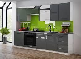küchenzeile grau hochglanz weiß 240 cm küche küchenblock mdf arbeitsplatte relinggriffe modern einbauküche