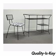 vintage mid century modern wrought iron vanity desk chair hairpin