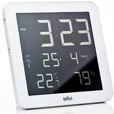 Braun Digital Wall Clock With Date Temperature And Humidity Display ABS Plastic Case