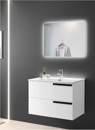badezimmermöbel suspendiert basis 80 malibú modern mit 2 schubladen schwarze griffe mit waschbecken glossy white