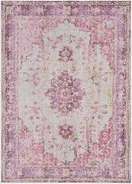 Bungalow Rose Kahina Vintage Distressed Oriental Pink Area Rug
