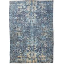 Contemporay Silk And Wool Rug Abstract Design With Blue Gray For Sale
