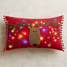 led light up reindeer musical pillow pier 1 imports