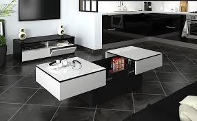 berlioz creations amelie couchtisch mit barfunktion hochglanz weiß schwarz 113 x 60 x 40 cm 100 made in