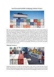 100 Containers For Homes Environmental Benefits Of Shipping Container Homes