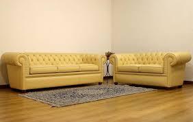 design chesterfield sofa 3 2 gelb polster leder sofas wohnzimmer sofa neu