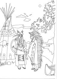 Free Coloring Page Adult Two Native Americans By Marion
