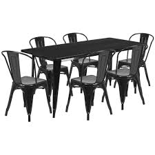 31.5'' X 63'' Rectangular Black Metal Indoor-Outdoor Table Set With 6 Stack  Chairs Jack Daniels Whiskey Barrel Table With 4 Stave Chairs And Metal Footrest Ask For Freight Quote Goplus 5 Pcs Black Ding Room Set Modern Wooden Steel Frame Home Kitchen Fniture Hw54791 30 Round Silver Inoutdoor Cafe 0075modern White High Gloss 2 Outdoor Table Chairs Metal Cafe Two Stock Photo 70199 Alamy Stainless 6 Arctic I Crosley Kaplan 4piece Patio Seating Oatmeal Cushion Loveseat 2chairs Coffee Rustic And Pieces Glass Tabletop Diy Patterns Pads Brown Tufted Target Grey