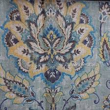 cynthia rowley curtains drapes panels set floral linen blue gold