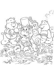 Care Bears Having A Bath Coloring Page