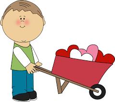 Boy Pushing Wheelbarrow of Hearts