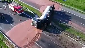 100 Milk Truck Accident Tanker Full Of Chocolate Spills All Over Highway YouTube