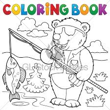 Coloring Book Bear Fisherman Theme 1 Eps10 Ve