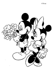 Mickey Mouse And Minnie In Love Coloring Page Color Online Print