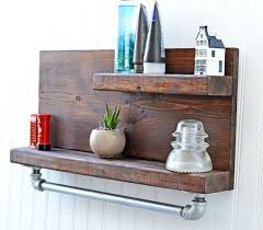 Wooden And Metal Rustic Towel Bars With Shelf For Bathroom Decoration Ideas
