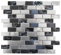 mosaic stainless steel and crackled glass mosaic mix