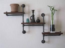 Industrial Rustic Urban Iron Pipe Wall Shelf 3 Tiers Wooden Board Shelving Home Water Bookshelf Wood Flower Furniture