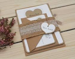 Rustic Wedding Invitation Handmade Lace Heart
