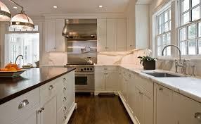 cabinet knob placement for a traditional kitchen with a fridge