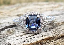 Vintage Antique 128ct Blue Sapphire Diamond Unique Engagement Ring Art Deco Style 14k White Gold