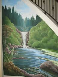 Wall Mural Decals Nature nature waterfall mural under a staircase www dwcustommurals com