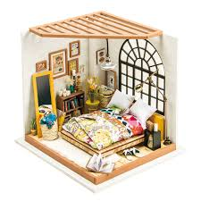 ROBOTIME DIY Dollhouse Kit Miniature Dreamy Bedroom Kits To Build Great Toy Gift For Kids Adults