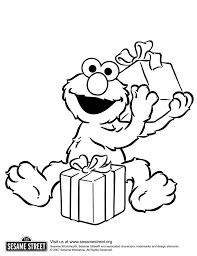 Elmo With Birthday Gifts Coloring For Kids