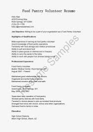 Food Pantry Volunteer Resume Pictures In Gallery Community Service Template X