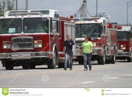 100 Small Utility Trucks People Walk With Fire In A Parade In Town America