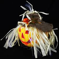 Fiber Optic Pumpkin For Sale by Halloween Mains Operated Light Up Fibre Optic Straw Haired