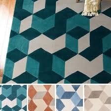 Teal Living Room Rug by Hand Tufted Beecher Geometric Teal Area Rug 8 U0027 X 11 U0027 Free