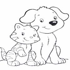 Elegant Dog And Cat Coloring Pages 47 On For Kids With