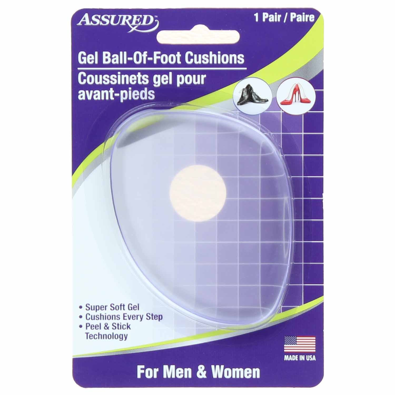 Assured Gel Ball of Foot Cushions for Men & Women 1 Pair Packs
