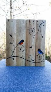 Ready To Hang Painted Birds And Vines On Reclaimed Wood From Pallets 13 X