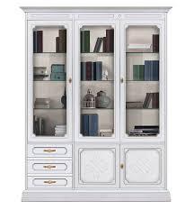 schrank 3 glastüren möbel im stil klassisch mit schnitzarbeit vitrine aus holz mit einlegeböden aus glas einrichtung klassisch für wohnzimmer
