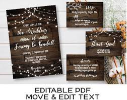 Rustic Wedding Invitation Template Dark Wood Invite Set Printable Country Vintage