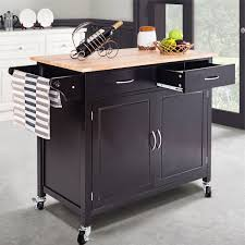 Giantex Kitchen Cart Rolling Island Cart Bamboo Trolley WStainless Steel Top Storage Shelves 3 Drawers 3 Baskets Towel Rack And Locking Wheels